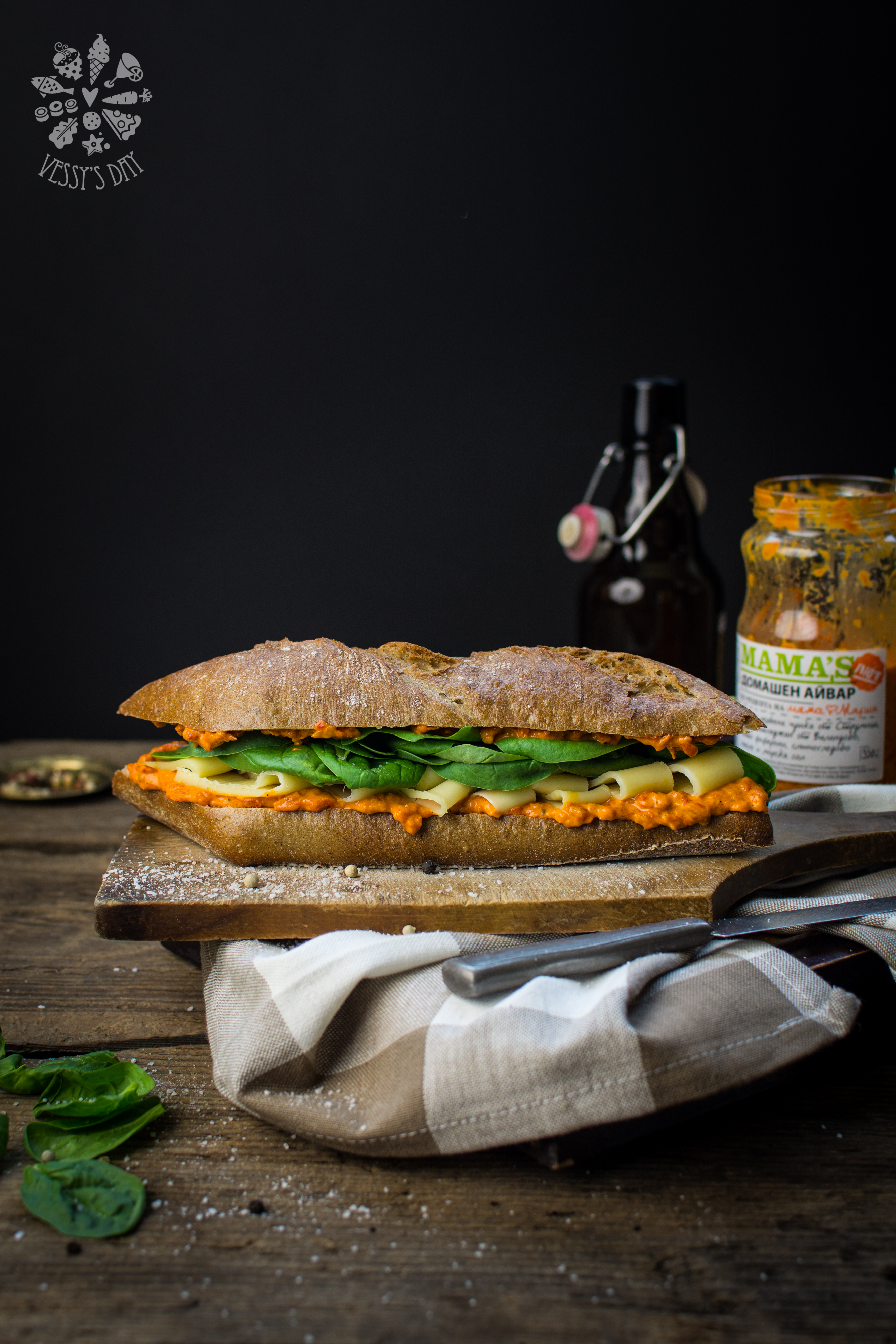 Ciabatta with spinach and gauda-1