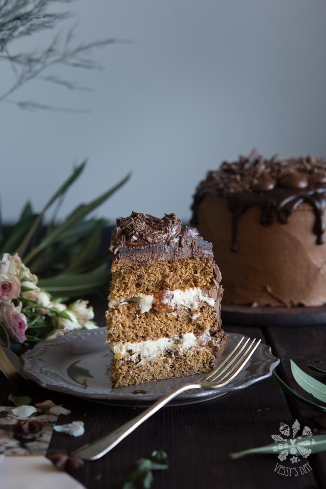 Cardamon sponge with chocolate buttercream and white cherries