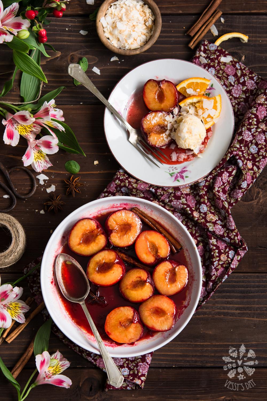 Honey roasted plums