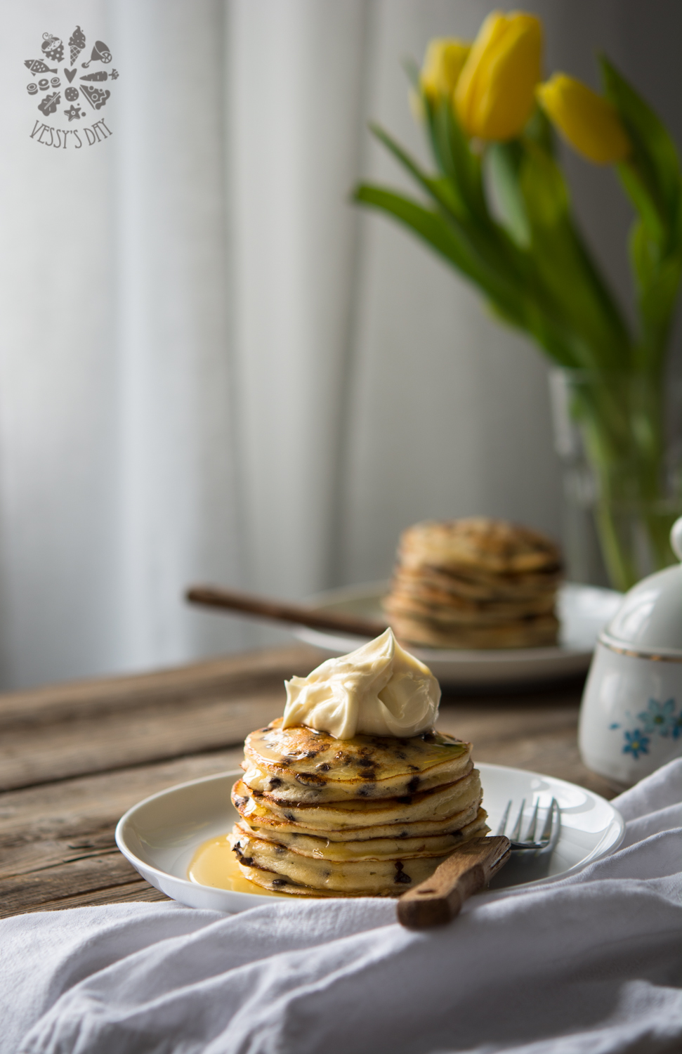 Chocolate chip ricotta pancakes