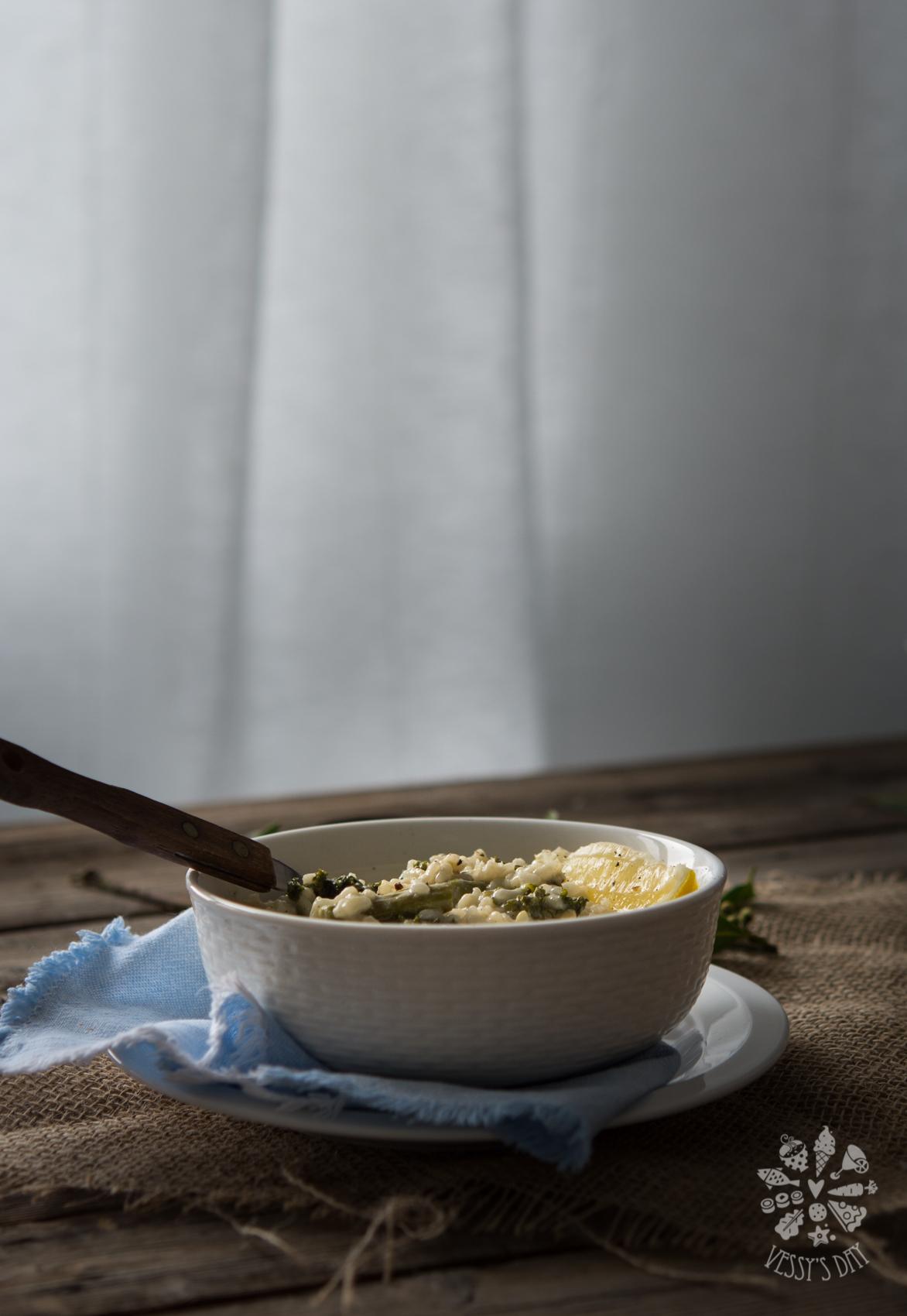 Asparagus & kale risotto