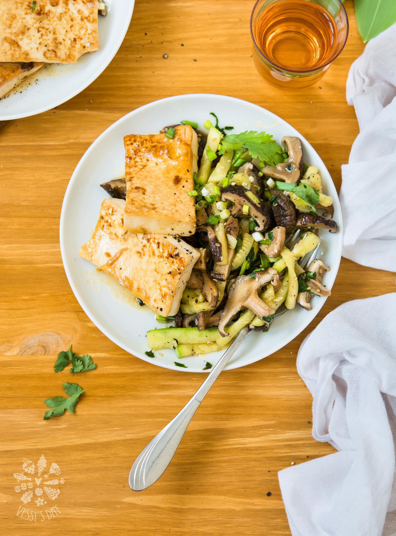 Mirin glazed tofu with shiitake and zucchini