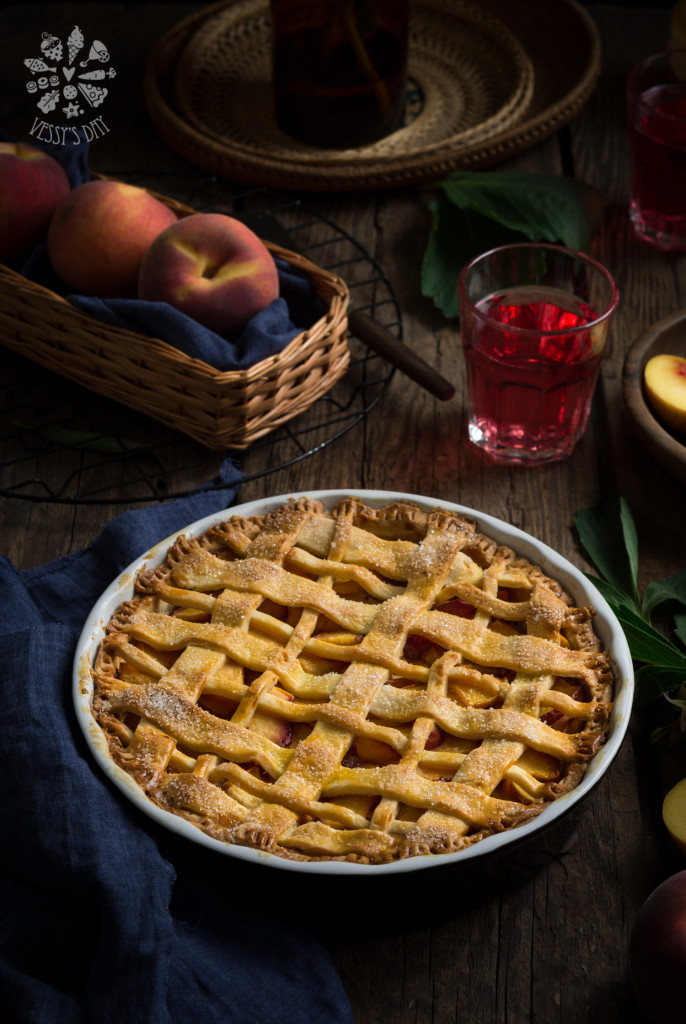 Salted caramel peach pie