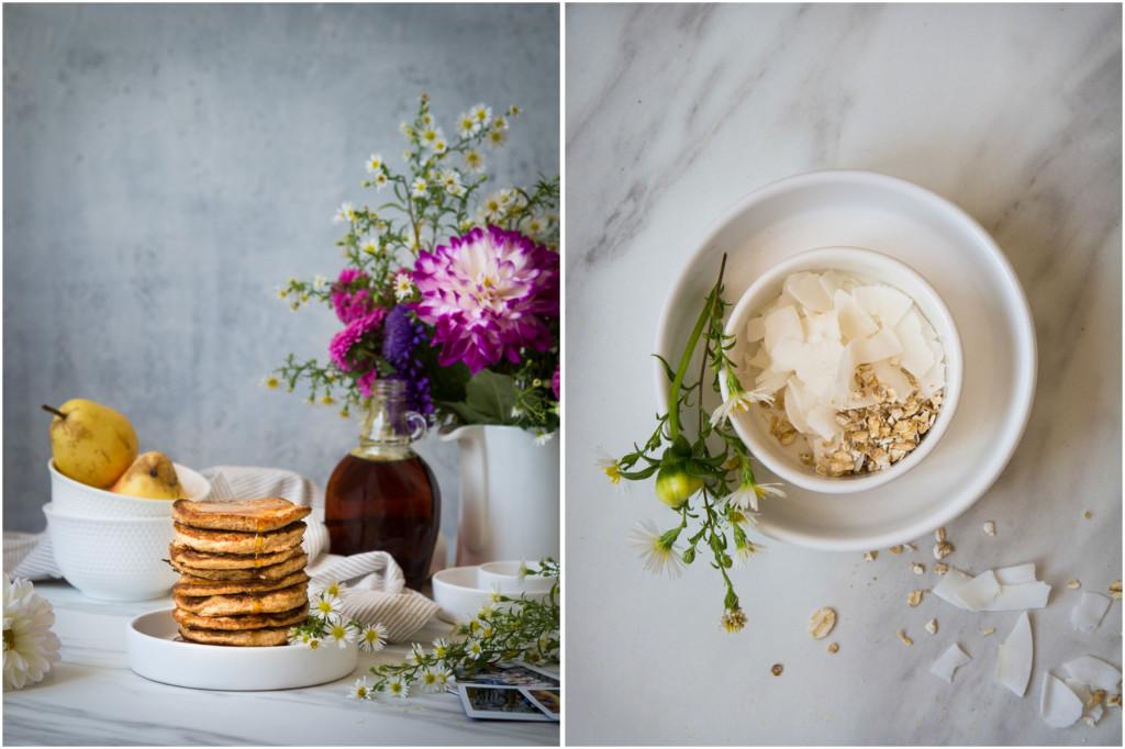Healthy oat & banana pancakes